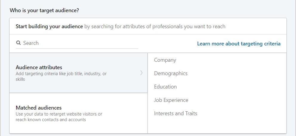 LinkedIn yleisöjen targetointi vaihtoehdot