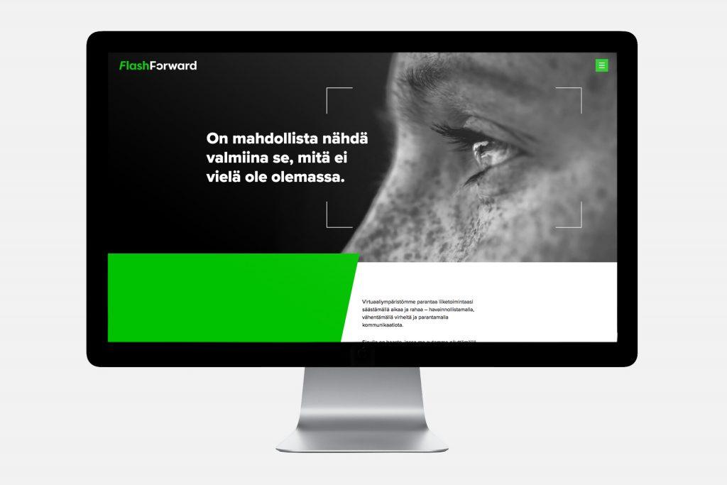 FlashForward verkkosivu ja slogan