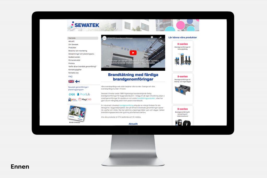 Sewatek verkkosivu ennen
